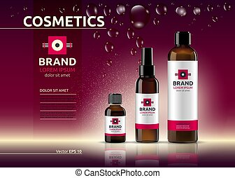 Body care cosmetic set serum and cream ads template. Hydrating facial or body lotions. Mockup 3D Realistic illustration. Sparkling deep red background