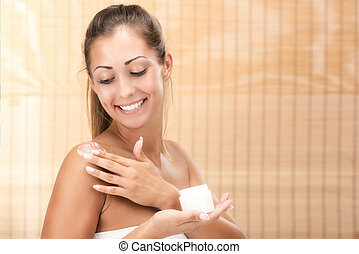 Body Care - Cute girl preparing to start her day. She is ...
