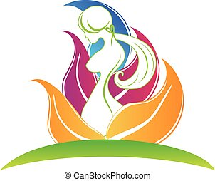 Body care logo - Beauty body girl with leafs symbol icon...