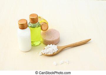 Body care products,sea salt,soap,shampoo,lotion
