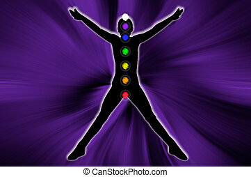 Body chakra - Body with all chakra in the space