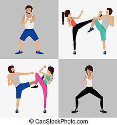 Body Combat design over white background, vector ...