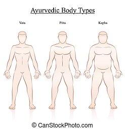 Body Constitution Types Vata Pitta Kapha - Ayurvedic body...