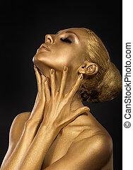 body., doré, mains, art, concept., face., femme, plaqué, doré, gilt., elle, foyer, coloring.
