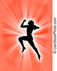 Body expression - Human body expression jumping against a...