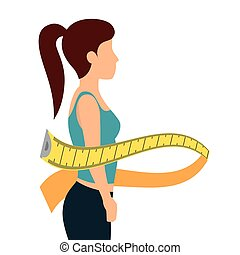 body female with tape measure