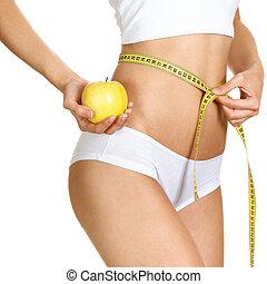 body., femme, mince, parfait, mesurer, régime, waistline., elle