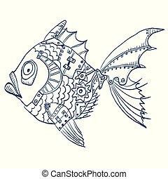 body., fish, ilustracja, ręka, strony, tło, mechaniczny, pociągnięty