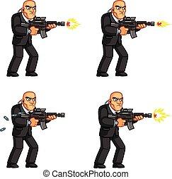 Vector Illustration of Bald Body Guard Cartoon in Animation Spritesheet
