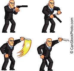 Body Guard Stabbing Knife Animation - Vector Illustration of...
