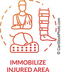 Body immobilization concept icon. Injury first aid, spinal ...
