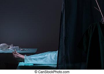 Body in morgue