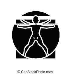 Body knowledge black icon, concept illustration, vector flat symbol, glyph sign.