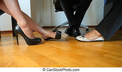 body language. concept of business. feet of business people...