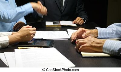 body language. Gesticulation of hands during negotiations....