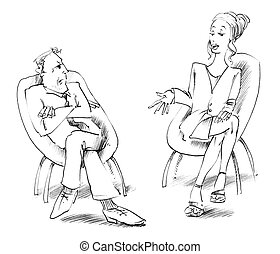 man and woman talking - Body language: man and woman talking