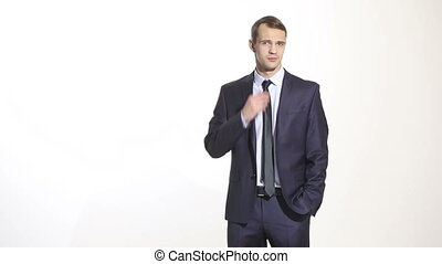 body language. man in business suit isolated white background. gesture pulling the collar. fear of exposure