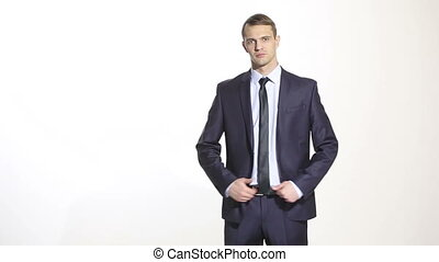 body language. man in business suit isolated white background. Training managers. sales agents. gesture of dominance. focus on thumb.
