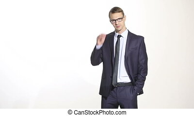 body language. man in business suit isolated white background. Training managers. sales agents. manipulation of glasses. Sucking bow. comforting,