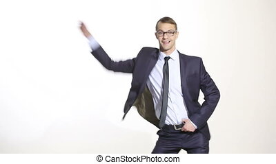 body language. man in business suit isolated white background. Training managers. sales agents. gesture merriment. disco