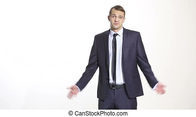 body language. man in business suit isolated white background. Training managers. sales agents. gesture shrug