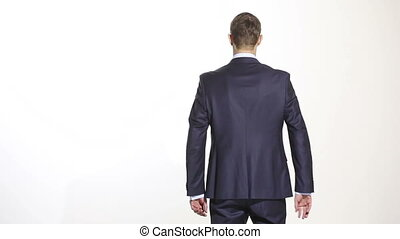 body language. man in business suit isolated white background. Training managers. sales agents. gesture of confidence. hands behind his back