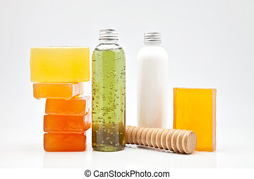 body lotion gel, soaps and oils