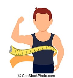 body male with tape measure