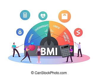 Body Mass Index Concept. Tiny Characters at Huge Scale with Obesity Degrees from Normal, Overweight to Extremely Morbidly Obese. Fat and Slim People Obesity Weight Control. Cartoon Vector Illustration
