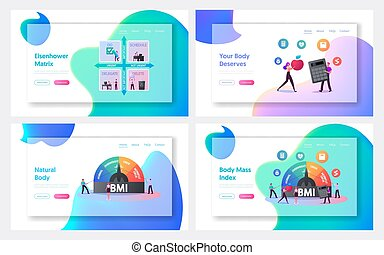 Body Mass Index, Eisenhower Matrix Landing Page Template Set. Tiny Characters at Huge Scale with Obesity Degrees from Normal to Obese. Fat and Slim People Weight Control. Cartoon Vector Illustration