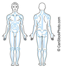 Body massaging lines for man. - Closeup portrait of a young...