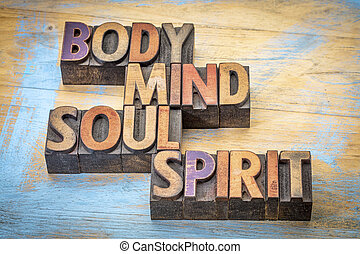 body, mind, soul and spirit word abstract