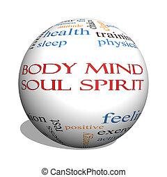 Body Mind Soul Spirit 3D sphere Word Cloud Concept