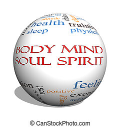 Body Mind Soul Spirit 3D sphere Word Cloud Concept