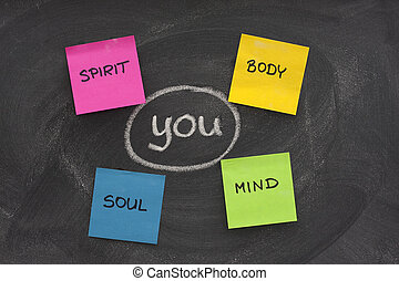 you, body, mind, soul, spirit - personal growth or development concept sketched with white chalk and sticky notes on blackboard with eraser smudges