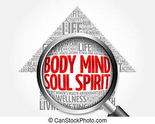 Body Mind Soul Spirit arrow word cloud