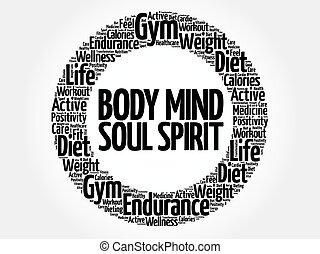 Body Mind Soul Spirit circle word cloud