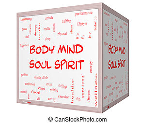 Body Mind Soul Spirit Word Cloud Concept on a 3D cube Whiteboard with great terms such as harmony, life, sleep, fit and more.