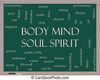 Body Mind Soul Spirit Word Cloud Concept on a Blackboard
