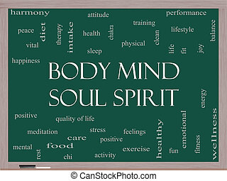 Body Mind Soul Spirit Word Cloud Concept on a Blackboard