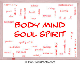 Body Mind Soul Spirit Word Cloud Concept on a Whiteboard