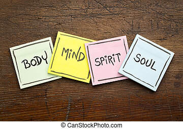 body, mind, spirit and soul - sticky note set