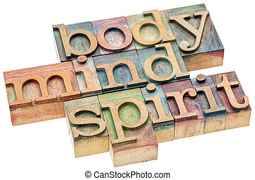 body, mind, spirit concept in wood type