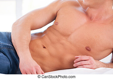 body., muscular, close-up, cama, perfeitos, homem, mentindo