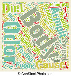 Body odor can be eliminated through a change in diet text background wordcloud concept