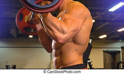 Body of athlete man doing biceps exercise with barbell