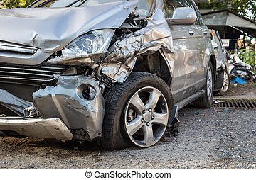 Body of car get damaged by accident - Close up body of car...