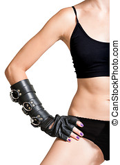 Body of Girl with Hand in Leather Glove