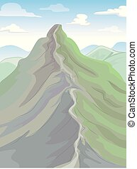 Body Of Land Ridge Mountain Illustration - Colorful...