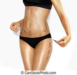 body of woman for correction cosmetic surgery - attractive...